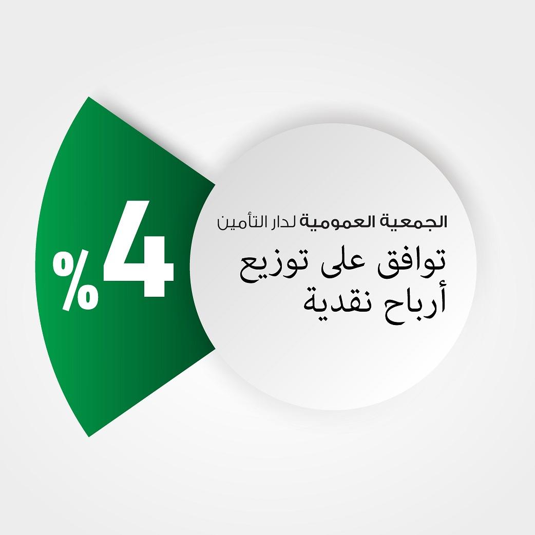 الجمعية العمومية لدار التأمين توافق على توزيع 4% أرباح نقدية